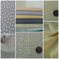 Grey & Yellow Fabric Bundle 100% Cotton Stars Spots Check Offcuts Remnant Scraps