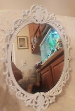 "Vintage Cast Iron white Art Wall Mirror Ornate 18"" x 13"""
