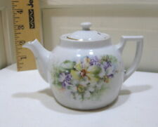 Vintage Made in Germany Personal Size Tea Pot Floral Design Gold Trim