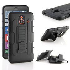 Nokia Lumia 640 XL Case, Armor Hybrid Belt Clip Case with Kickstand - Black