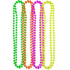 4 PACK OF NEON NECKLACE BEADS PINK ORANGE GREEN YELLOW 80S ACCESSORIES DISCO SET