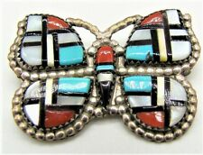 HERBERT CELLICION ZUNI STERLING SIL.VER BUTTERFLY PIN/ PENDANT -TURQUOISE MOP  +