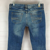 Maurices Molli womens 3/4 stretch faded distressed med wash embellish flare jean