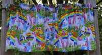 Rainbow Unicorn Butterfly Flowers Floral Unicorn Handcrafted Curtain Valance