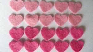 20 X PINK FELT HEART DIE CUT SHAPES APPLIQUE CARD SEWING DECORATION