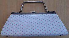 Sergio Rossi White + Pink Polka Dot Purse Hand Bag