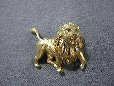 Vintage signed Hattie Carnegie rhinestones eyes enamel teeth goldtone lion pin