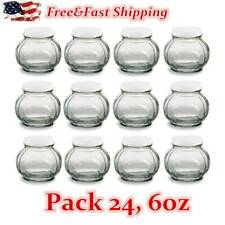 24 Pack Faceted Round Glass Jars with Silver Lids for Jam, Honey, Marmalade 6 oz