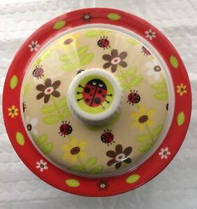 Sugar booger  Covered Suction Bowl Set Flowers Ladybugs Ore Originals Travel Set