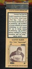1936-39 Diamond Matchbook Hockey Type 2   Lloyd Klein   NY Americans   LOOK !!