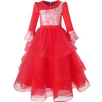 US STOCK Girls Dress Red Tiered Layers Holiday Party Pageant Dress Size 7-14