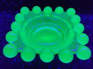 blue Vaseline glass candlewick salt cellar / candle votive holder uranium cobalt