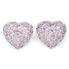 Ohrringe Herz Amethyst 925 Silber 585 Weißgold