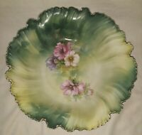 """R S Prussia """"Red Marked"""" Handpainted floral & Green Porcelain Bowl w/Gold Edge"""