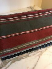 Woolrich Vintage Striped Blanket Throw Leatherette Hem 49 x 66 inches