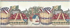 PATRIOTIC AMERICAN FLAGS ON BASKETS APPLES AND BIRDHOUSES Wallpaper bordeR