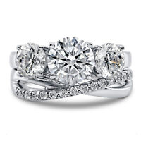 2.29 Ct Round Cut Real Diamond Band Sets 14K Solid White Gold Rings Size 7 6 5.5