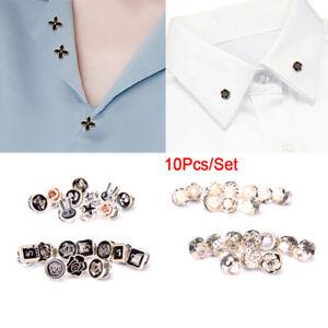 10Pcs/Set Mini Pearl Flowers Crystal Brooch Buttons Suit Shirt Lapel Collar-xd