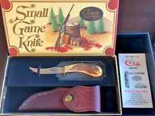 1979 CASE XX 523-3 1/4 SMALL GAME KNIFE WITH LEATHER SHEATH, BOX, PAPERS NIB