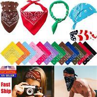 4 PCS Bandana Paisley Face Mask Head Wrap Cotton Scarf Neck Cover Camo US lot