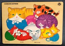 """Small World Toys ~ """"CUDDLING KITTENS"""" ~ Wooden Tray Frame PUZZLE ~ #2805 ~ 1997"""