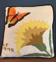 "Needlepoint 1975 Brown Velvet Throw Pillow Butterfly 12"" x 13"" Vintage"