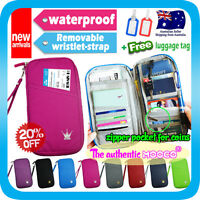 Mooco Travel Wallet Passport Holder Document Organizer Card Coin Pouch+Tag Ruby