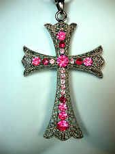 TIMELESS EXQUISITE PINK DIAMANTE CROSS PENDANT FAST DELIVERY BRAND NEW