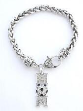 Silver Lobster Claw Bracelet Jewelry Soccer Mom Clear Black Crystal Fashion