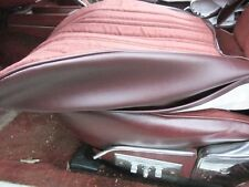 83 84 Hurst Olds Maple Red Cloth Front Seat Covers with chrome hinge cover sets