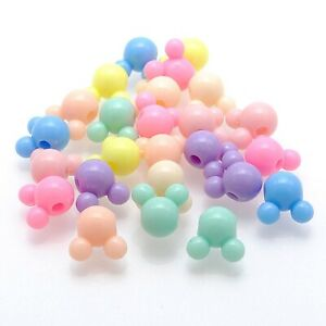 Craft DIY Mixed Pastel Color Acrylic Mouse Face Beads 8mm 10mm 12mm Wholesales