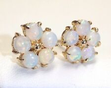 Natural Fiery White Australian Opal Flowers 14K Gold Post Earring Studs