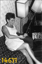 LOT 2x vintage negative! sexy woman w guinea pig, animal, mini clothes 1960's