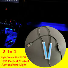 2  In 1 USB Car LED Central Light Strip Interior Atmosphere Glow Neon Lamp Decor