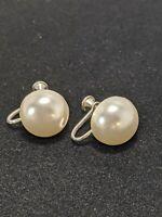 Vintage Silver Tone Button Faux Pearl Drop Screw Back Earrings