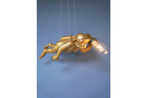 Steve The Scuba Monkey Gold Ceiling Pendant   Battery Operated Quirky Light