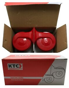 KTC Universal Red Snail Electric Air Horn Set High 500 / Low 400 w/ Relay Kit