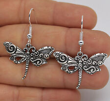 925 Silver Plated Hook - 1.5'' Dragonfly Swirl Insect Women Party Earrings #61