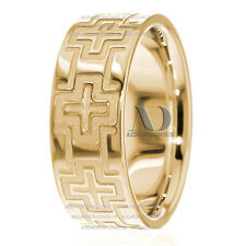 Mens Christian Cross Wedding Band 8mm Wide Solid 10K Yellow Gold Religious Ring