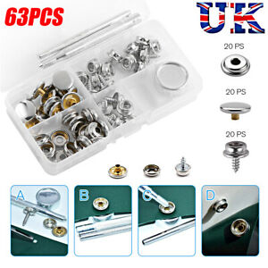 63Pc Heavy Duty Snap Fasteners 15mm Sets Press Studs Kit Poppers Buttons W /Tool