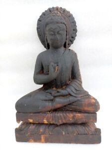 Vintage Old Rare Fine Hand Carved Hindu Jain God Mahavira Buddha Figure Statue