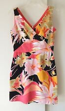 womens multi color DONNA RICCO dress shift sheath cotton stretch floral XS 2