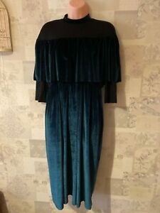 ASOS Green velvet High Neck Long Sleeve Long Dress Size 14