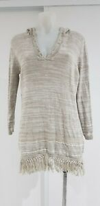 TOMMY BAHAMA Taupe Hooded  Long Sleeve Linen Jumper with Frill - Sz S/P - EUC