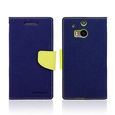 Genuine Korean Mercury Goospery Fancy Diary Wallet Case for HTC One M8 - Navy
