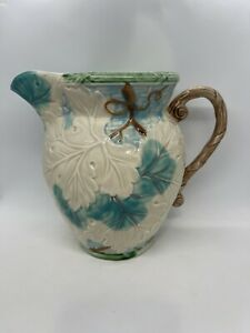 """Vintage 1989 BORDEAUX by SHAFFORD Serving Pitcher - Embossed Majolica - 8"""" Tall"""