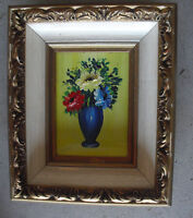 Vintage Puline Signed Small Oil Painting of Colorful Flowes in Vase Framed