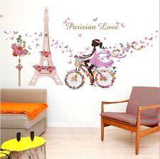 Removable Vinyl Wall Decal Paris eiffel tower Girl Sticker Home Room DIY Decor