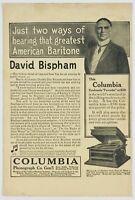 1912 Columbia Phonograph David Bispham Baritone Music Advertising Print Ad