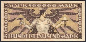 1923 500000 Mark German States Baden Rare Vintage Emergency Money Banknote aUNC
